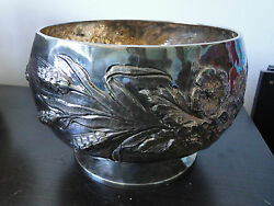 Large Fruit Bowl Footed Chased Sterling Silver 800 Made In Italy Circa 1960