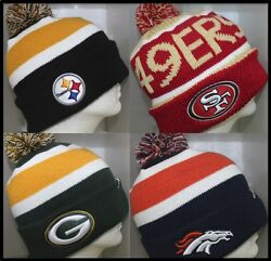 Nfl 49ers, Broncos, Packers, 49ers Knit Cap Beanie Hat With Pom - Osfm