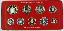 1978 Republic Of Malta Proof Set 9 Gem Coins Made By The Franklin Mint W/ Coa