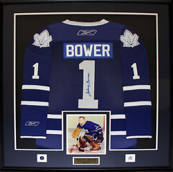 Johnny Bower Toronto Maple Leafs Signed Jersey Nhl Hockey Collector Frame