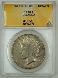 1928 Silver Peace Dollar Coin 1 Anacs Au-55 Details Cleaned Nicely Toned