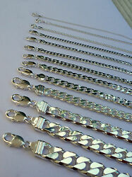 1mm -15mm Menand039s Womenand039s 925 Sterling Silver Cuban Link Chain Necklace 16-36