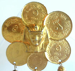 Alice Caviness Large 4 Inch Goldplate Coin King Tut Dangly Bell Brooch Vintage