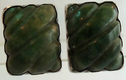 Silver Mexico 950 Sterling Silver Vintage 30and039s Genuine Jade Screw Back Earrings