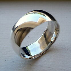 8mm 925 Sterling Silver Mans Wedding Band Ring Sizes 5-14 Free Engraving
