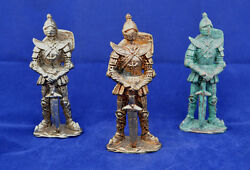 Paladin, Knight In Full Plate Male Miniature Statues X3 Rpg Artifact