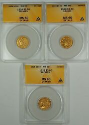 1928 2.50 Indian Gold Coin Anacs Ms-60 Det. Cleaned One Coin Only