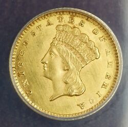 1862 1 Gold Coin Anacs Ms-60 Details Cleaned Better Coin Civil War Money