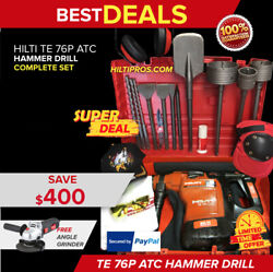Hilti Te 76-p Atc Rotary Hammer Drill, Excellent Condition, Free Bits And Chisels