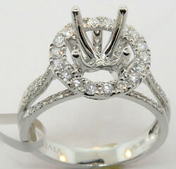 Ladies 18k White Gold Micro Paveand039 Engagement Ring Setting Size 6 1/2
