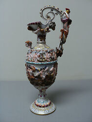 Fabulous 19th C. Capo-di-monte Porcelain Hand Enameled And Gilt Decorated Ewer