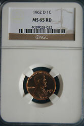 1962-d Ngc Ms65rd Lincoln Memorial Penny Good Strike Red Mint Luster