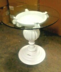 Frontgate Donatella Outdoor Patio Side Dining Bistro Pedestal Table White Pool