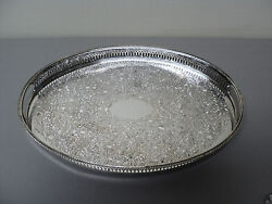 Vintage English Silver Plate 15.5 Engraved Pierced Gallery