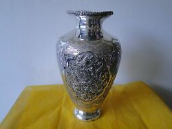 Persian Vase Sterling Silver Chased Engraved Great Designs And Patina C-1890