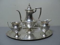 Elegant 4-pc Dunkirk Sterling Silver Coffee Set W/ Tray, Engraved Floral Design
