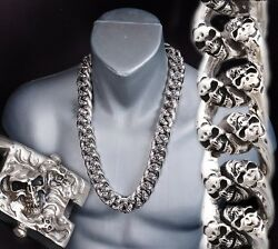 26 910g Heavy Chunky Biker Curb Chain Skull 925 Sterling Silver Mens Necklace