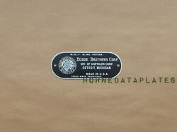 Dodge Brothers Corp. Under Hood Data Plate Id Tag Zinc 1921 - 1931