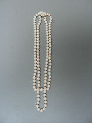 Stuning Estate Double Strand Natural Angel Skin Coral Necklace, 8.5mm Beads