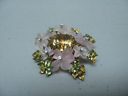 Unique Antique 18k Gold Flower Brooch, Huge Yellow Beryl, Diamonds And Peridot