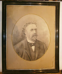 1890and039s Antique Rare Poland Painting Artist W. Drawings Pencil Portrait