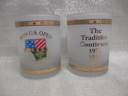 2 2000 Us Open Pebble Beach Frosted Double Old Fashioned Glasses Tiger Woods