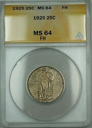 1925 Fh Standing Liberty Silver Quarter 25c Anacs Ms-64 Better Coin Rf