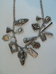 Unusual 29 Sterling Silver Necklace W/ 15 Antique Sterling Charms, 168 Grams