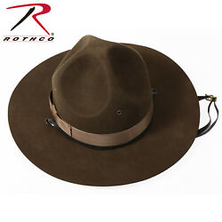 Army Usmc Usn Style Trooper Brown Drill Sergeant Wool Felt Campaign Hat 5655