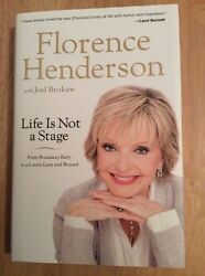 Life Is Not A Stage Florence Henderson - Signed + Pic Brady Bunch Oklahoma Hc