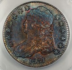 1831 Capped Bust Silver Half Anacs Au-58 Details Scratched Better Beaut Toned