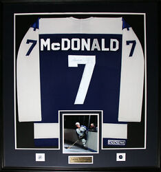 Lanny Mcdonald Toronto Maple Leafs Signed Jersey Nhl Hockey Collector Frame