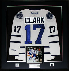 Wendel Clark Toronto Maple Leafs Signed White Jersey Nhl Hockey Collector Frame