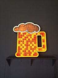 Neon Beer Light bulb Sign 3ft tall LightBulbs fill the Glass