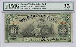 1910 10 Dominion Bank Of Canada Pmg Vf 25