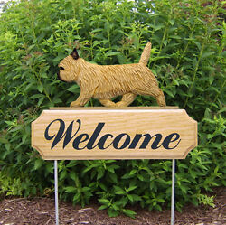 Cairn Terrier Dog Breed Oak Wood Welcome Outdoor Yard Sign Wheaten