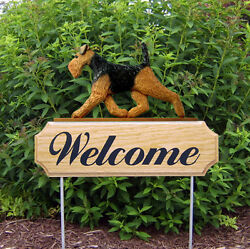 Welsh Terrier Dog Breed Oak Wood Welcome Outdoor Yard Sign