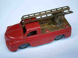 Vintage Red Old Tin And Plastic Friction Mechanism Toy Car Fire Truck