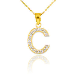10k 14k Yellow Gold Letter C Diamond Initial Pendant Necklaces Perfect Gifts