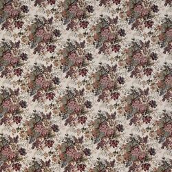 F928 Burgundy And Green Floral Bouquet Tapestry Upholstery Fabric By The Yard