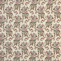 H858 Pink Beige And Green Floral Tapestry Upholstery Fabric By The Yard