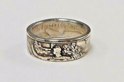Coin Ring Hand Made From Silver Walking Liberty Half Dollar In Size 6-15