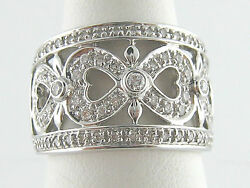 14k White Gold 1/2ct Diamond Open Heart Design Wide Band Ring. Size 7