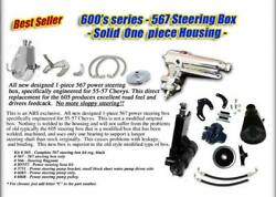 1955-57 Chevy Bel Air Power Steering Kit 567 1-piece Housing Chrome