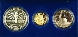 1986 Us Mint Liberty Commemorative 3 Coin Silver And Gold Proof Set As Issued Dgh