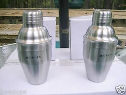 Delta Air Lines Cocktail Shaker Set Of 2 Mixer Single Serve 6 Oz- New In Box
