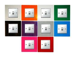 Single Light Switch Socket Finger Plate Coloured Acrylic Surround Free P And P