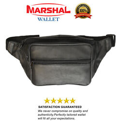 NEW Black Leather Fanny Pack- Mens Waist Belt Bag -Womens Purse Hip Pouch Travel $8.99