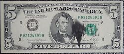 The United States Of America -1969c 5 Federal Reserve Note -major Ink Smear-ncc