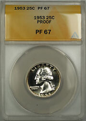 1953 Washington Quarter 25c Near Cameo Proof Coin Anacs Pf-67 Light Rim Toned